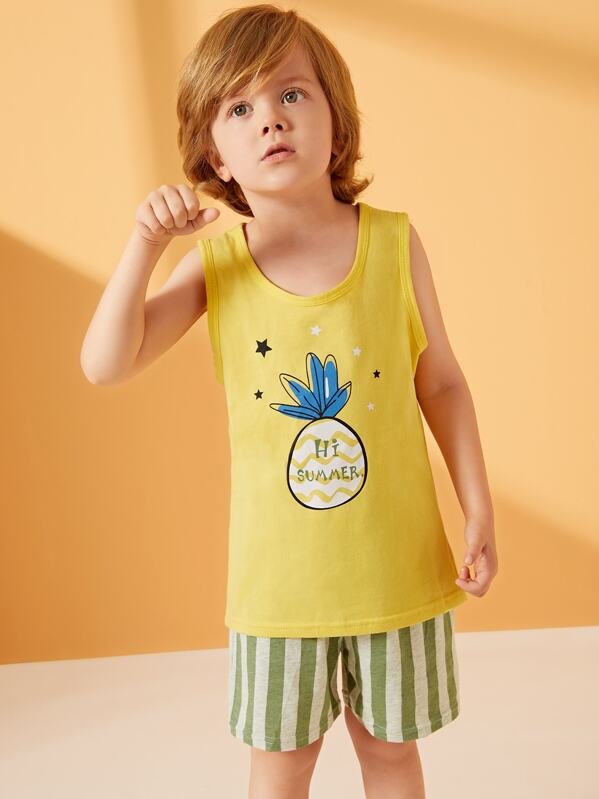 Toddler Boys Pineapple Print Striped Pajama Set, Alex B