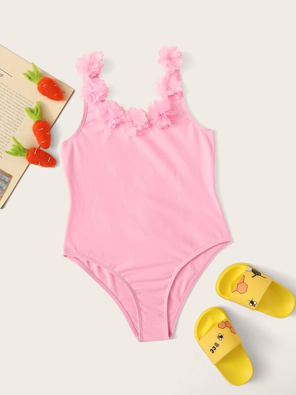 Girls Flower Applique One Piece Swimsuit, null
