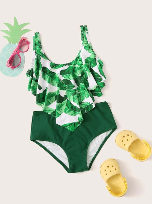 Girls Random Leaf Print Hanky Hem Bikini Set, null