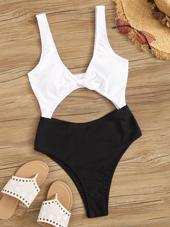 Two Tone Cut-out Knot Front One Piece Swimsuit, null