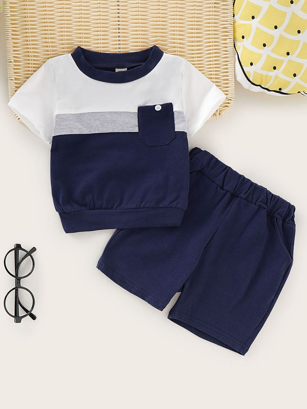 Toddler Boys Cut And Sew Tee With Shorts, null