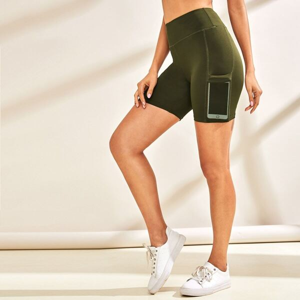 Wide Waistband Mesh Pocket Patched Cycling Shorts