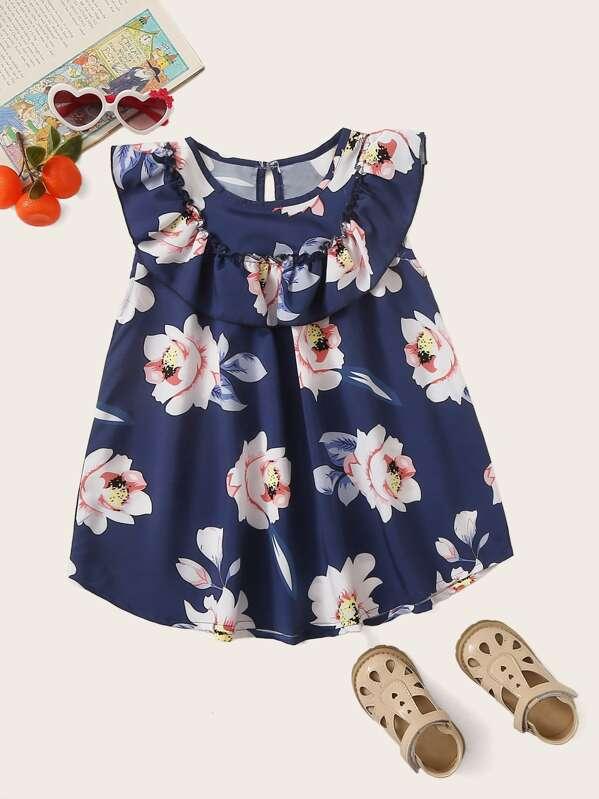 Toddler Girls Large Floral Print Ruffle Trim Dress, null