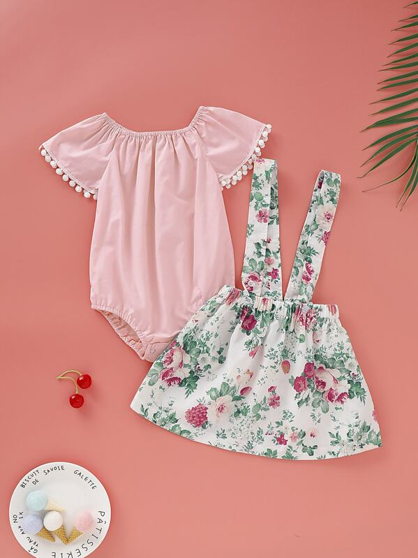 Baby Girl Contrast Lace Romper With Floral Print Straps Skirt, null