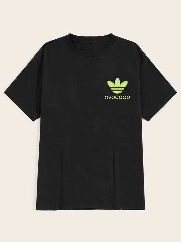 Men Letter And Avocado Print Tee, null
