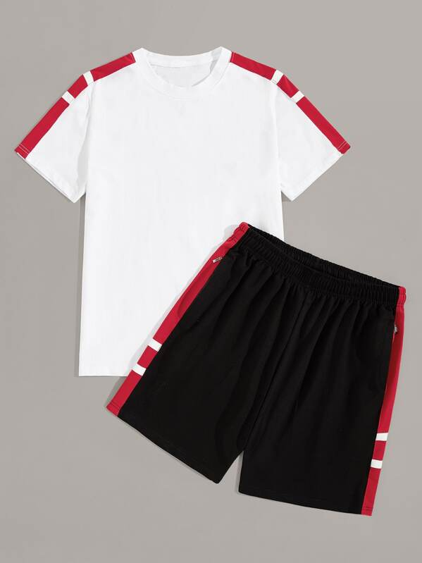 Men Contrast Panel Tee With Shorts, null
