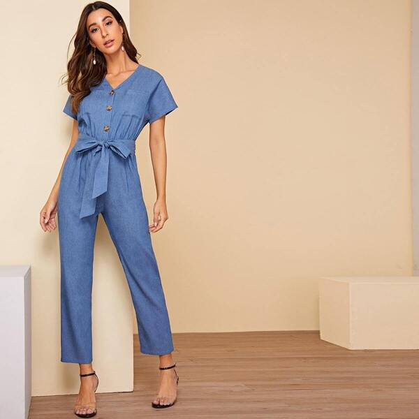 Patch Pocket Button Front Belted Jumpsuit, Blue