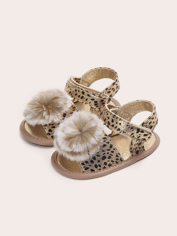 Baby Leopard Print Fluffy Sandals, null