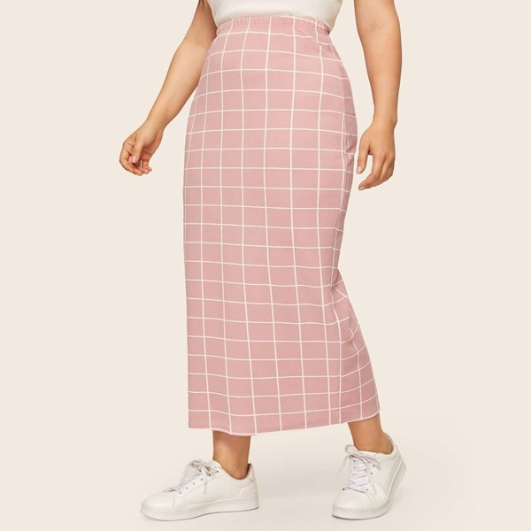 Plus Elastic Waist Grid Skirt, Pink