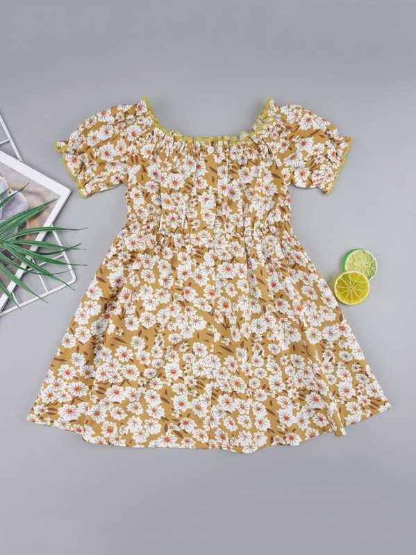Toddler Girls Ditsy Floral Lettuce Edge Trim Dress, null