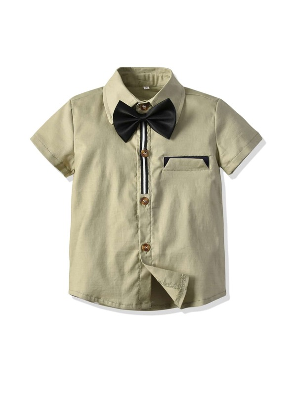 Toddler Boys Bow Detail Button Front Shirt, null