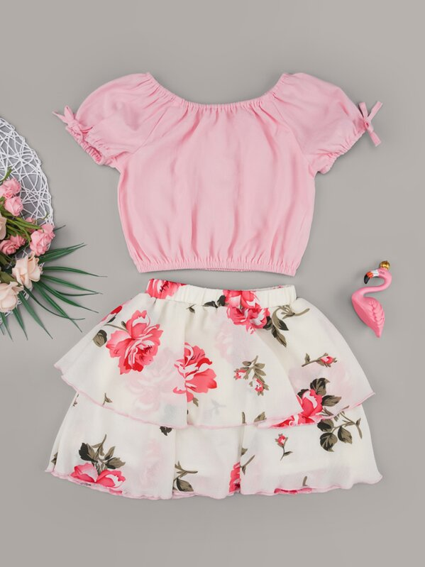 Toddler Girls Solid Blouse & Floral Ruffle Hem Skirt, null
