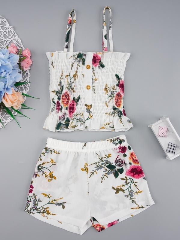 Toddler Girls Floral Print Shirred Cami Top & Shorts, null
