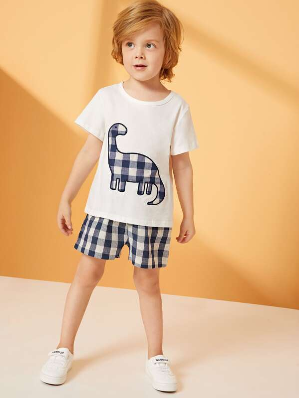 Toddler Boys Dinosaur Embroidery Tee & Gingham Shorts, Alex