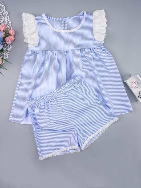 Toddler Girls Eyelet Embroidery Stripe Dress & Shorts, null