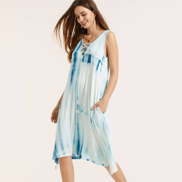 SBetro Lace Up Front Tie Dye Swing Tank Dress, Blue