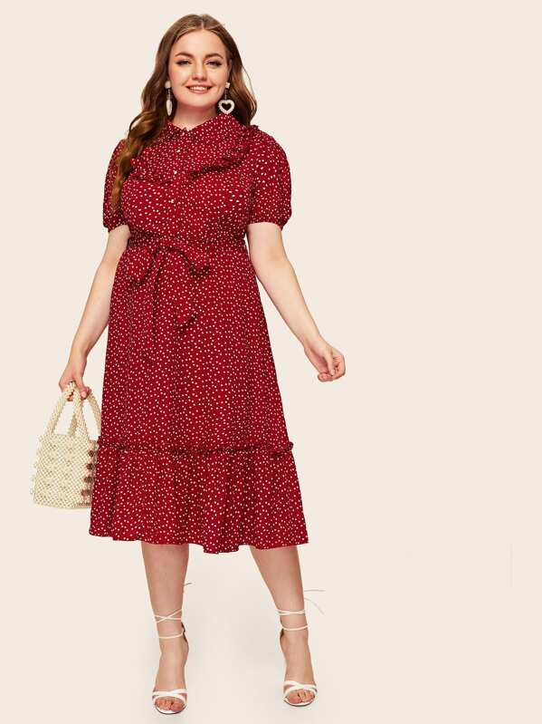 Plus Polka-dot Print Flippy Hem Belted Dress, Olga B