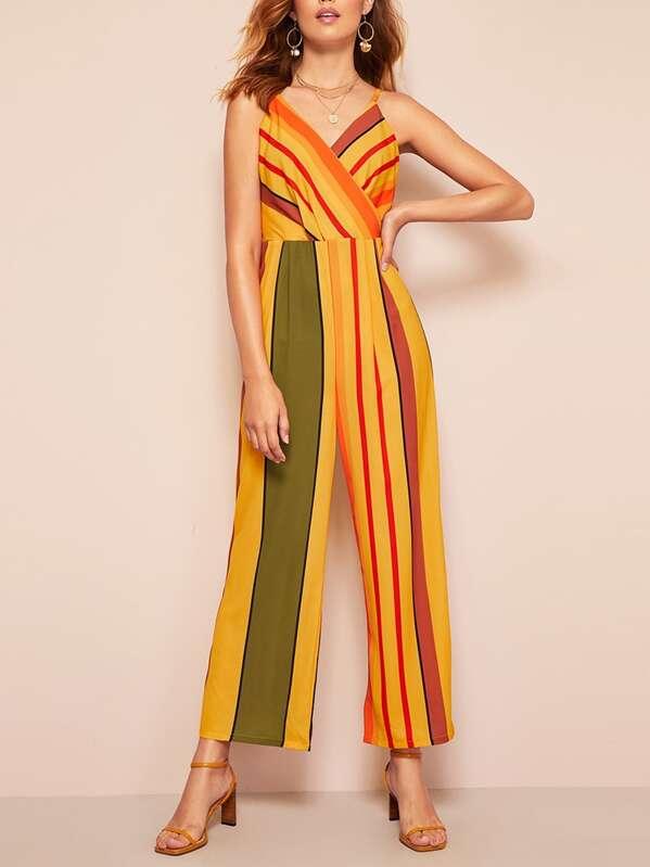 Striped Backless Cami Jumpsuit, Debora
