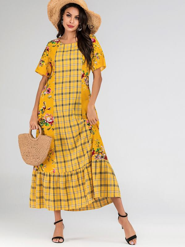 Plaid & Floral Print Ruffle Hem Dress, Yellow