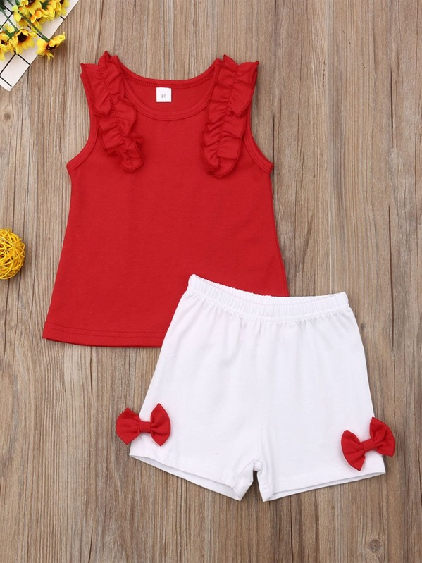 Toddler Girls Frill Tank Top & Bow Side Shorts, null