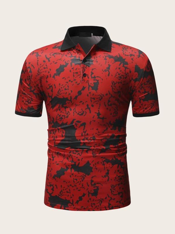 Men Camo Print Polo Shirt, null