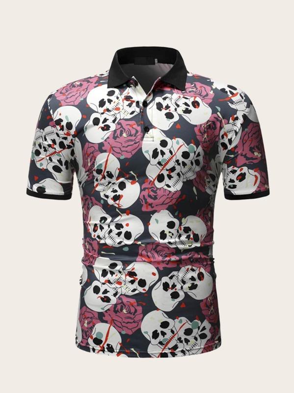 Men Skull & Floral Print Polo Shirt, null