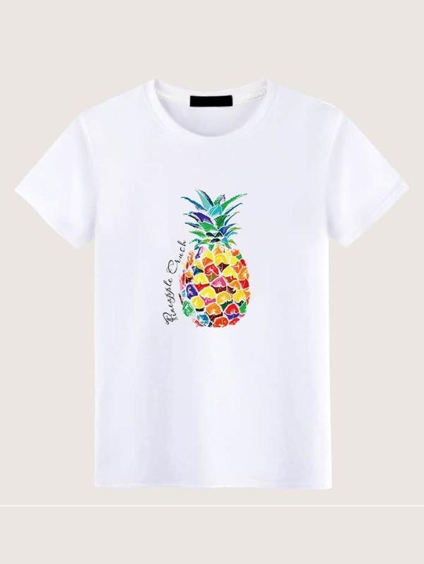 Men Pineapple & Letter Print Tee, null
