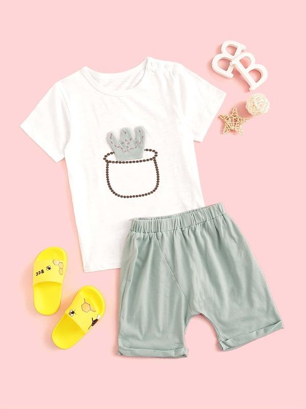 Toddler Girls Cactus Patched Pajama Set, null