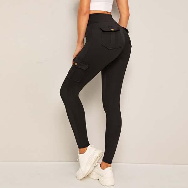 Flap Pockets Skinny Cargo Leggings, Black