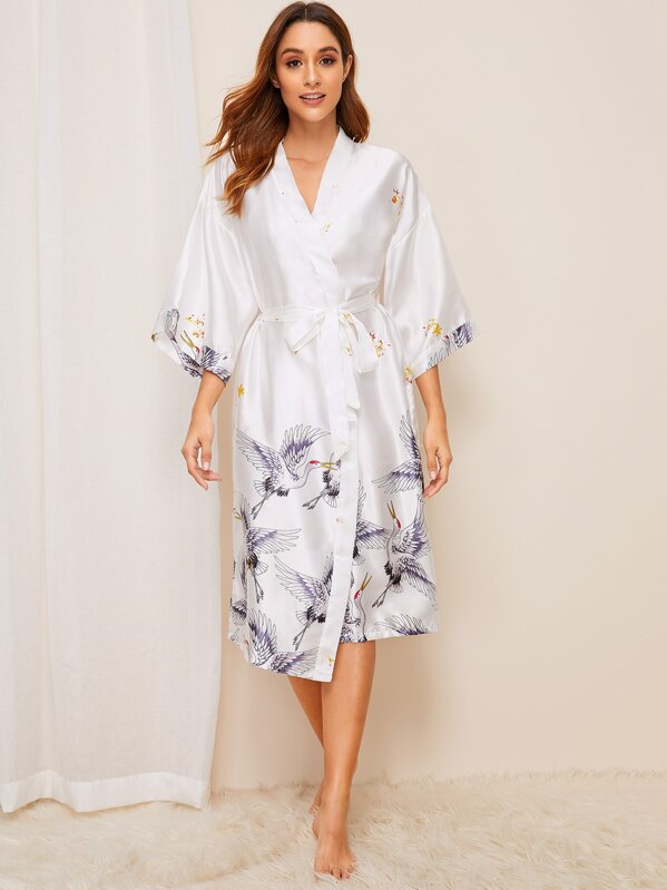 Crane Print Satin Belted Robe, Gabi B