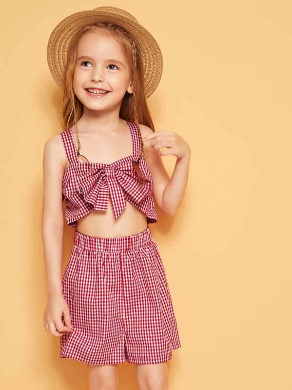 Toddler Girls Knotted Front Gingham Tank Romper, Burgundy, Sofia B