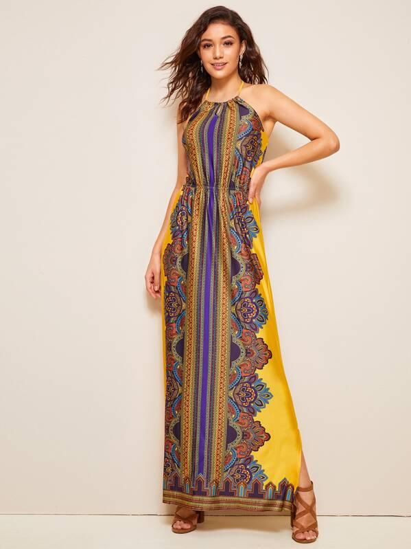 Tribal Print Split Side Halter Maxi Dress, Roberta B