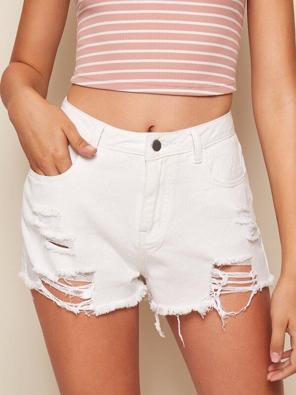 Ripped Raw Hem Denim Shorts, Debora