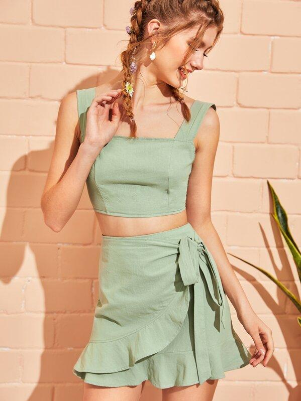 Zip Back Crop Top With Ruffle Trim Knot Side Wrap Skirt, Lera C