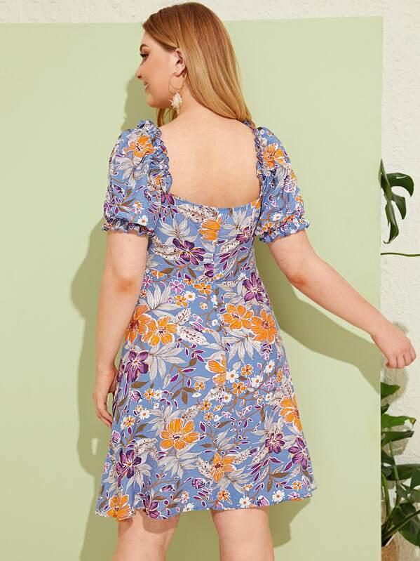 Plus Ruffle Trim Tie Neck Floral Print Dress, Nora