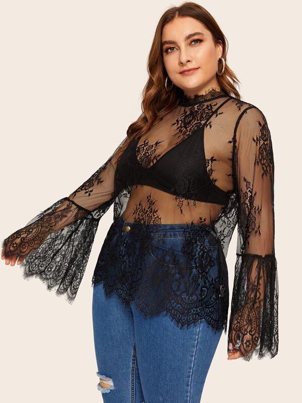 Plus Flounce Sleeve Keyhole Back Lace Top Without Bra, Franziska