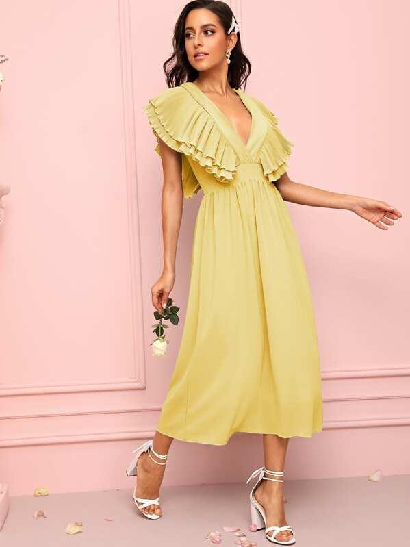 Solid Ruffle Sleeve Deep V-neck Dress, Mary P.