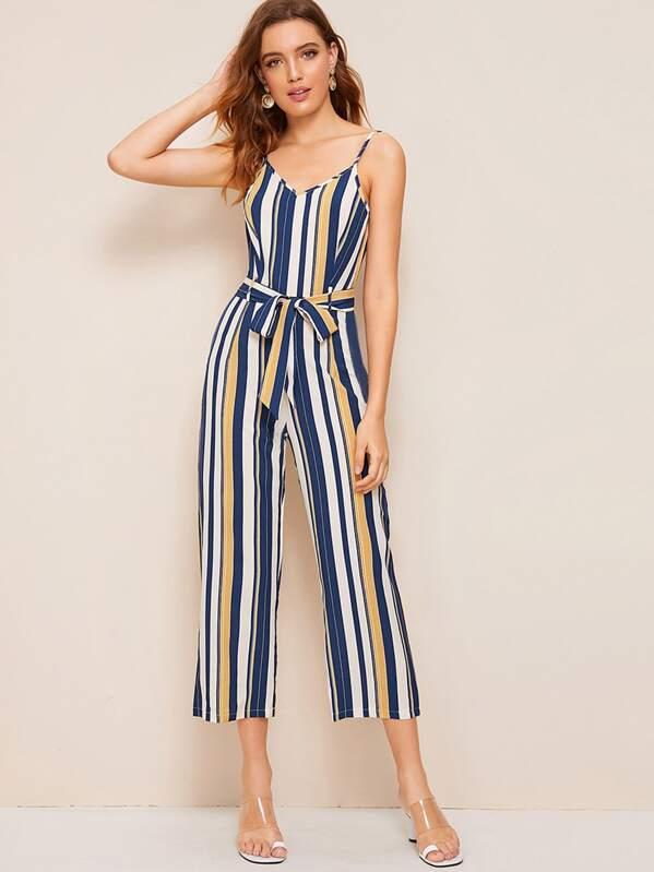 Striped Belted Cami Jumpsuit, Debora