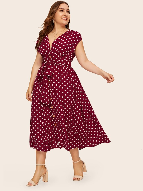 Plus Button Front Polka-dot Print Belted Dress, Franziska