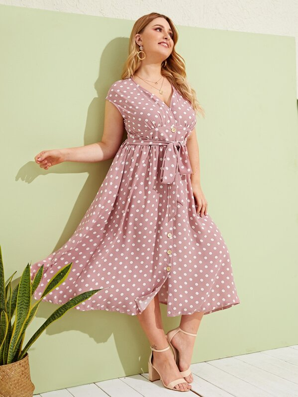 Plus Polka-dot Print Button Front Belted Tea Dress, Nora