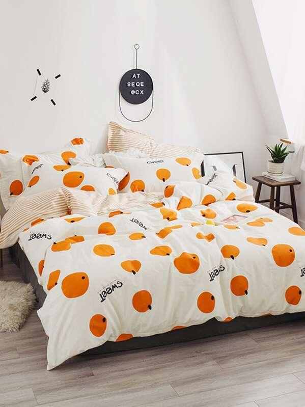 Orange Print Sheet Set, null