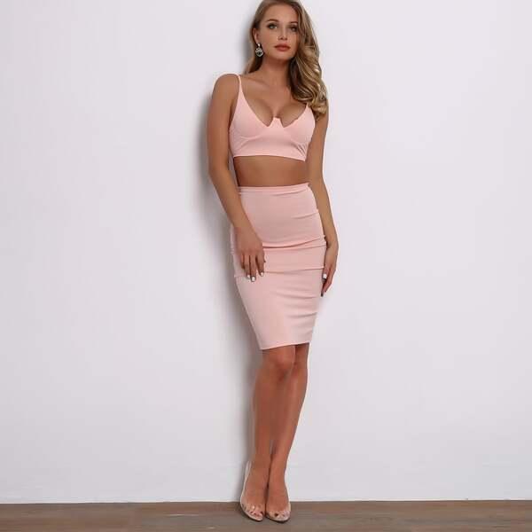 Joyfunear Solid Zip Back Crop Cami Top & Bodycon Skirt Set, Pink pastel