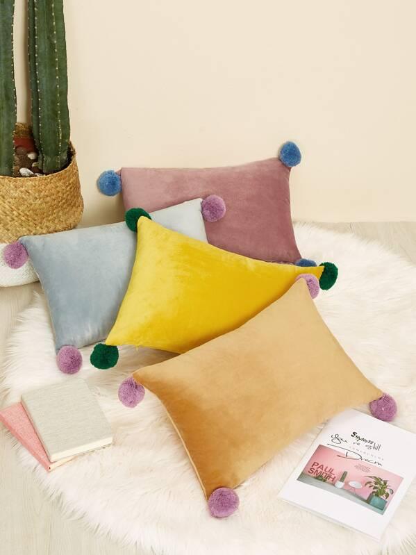 Pom Pom Decor Decorative Pillow 1pc, null
