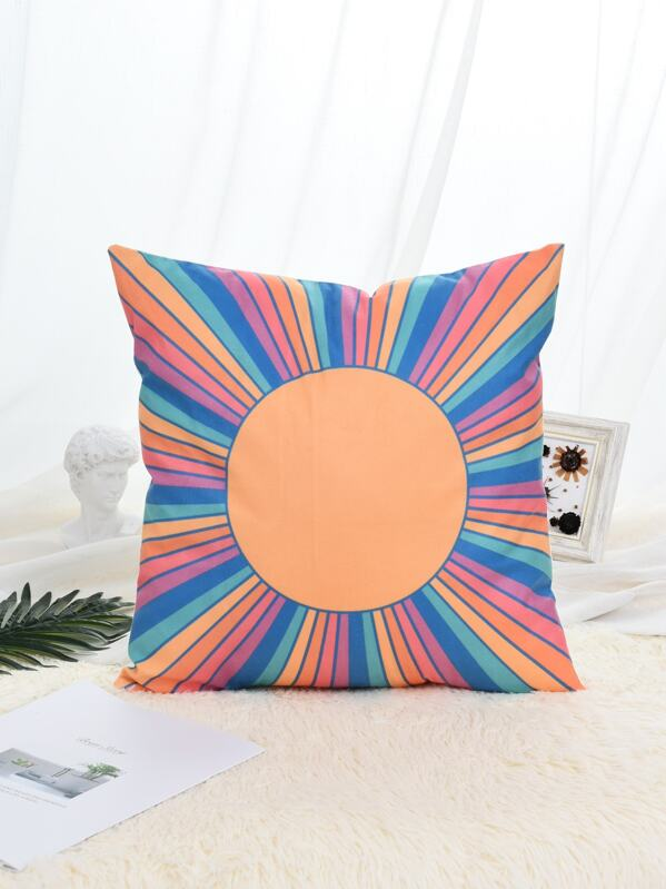 Color Block Striped Pattern Cushion Cover, null