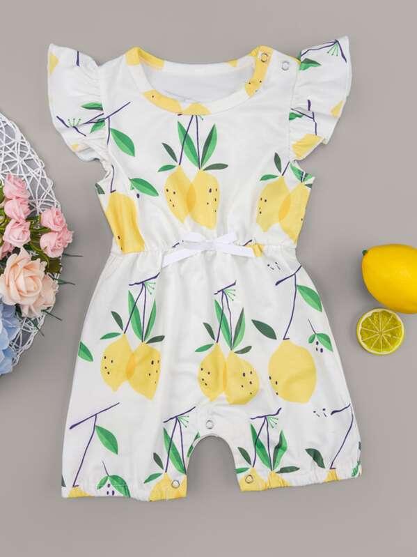 Baby Girl Lemon Print Bow Romper, null