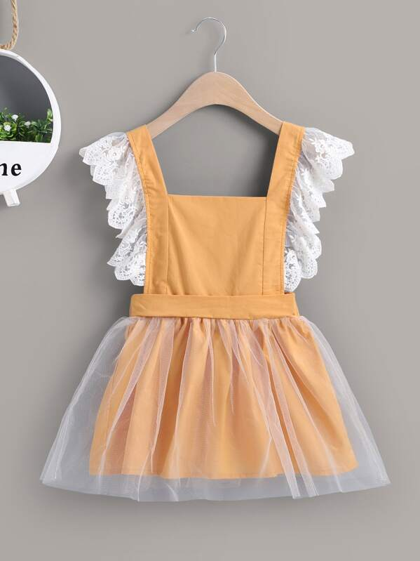 Toddler Girls Lace Trim Pinafore Tulle Dress, null