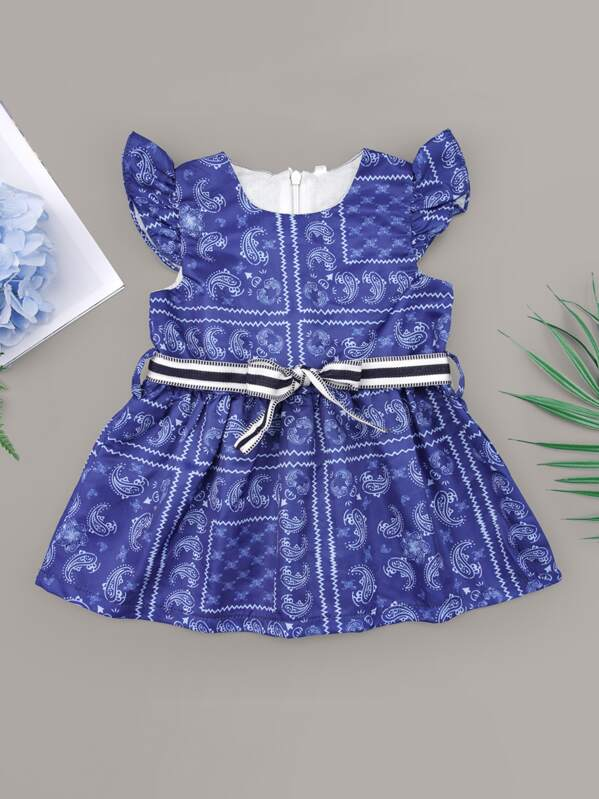 Baby Girl Paisley Belted Dress, null