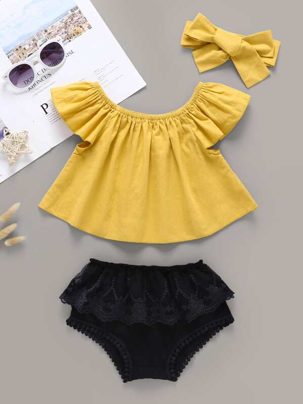 Baby Girl Flare Top & Contrast Lace Shorts & Headband, null