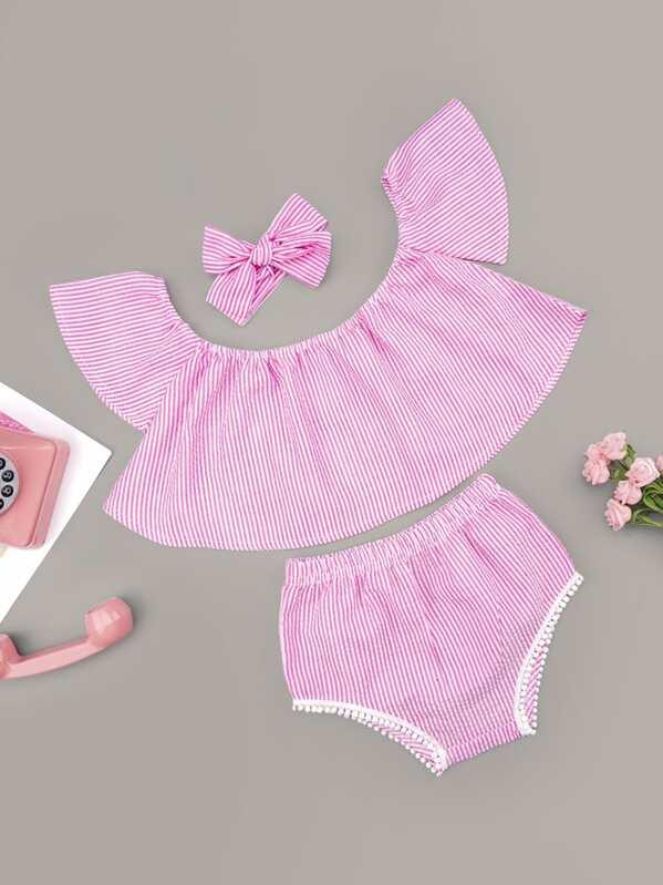 Baby Girl Striped Flare Top & Pom Pom Detail Shorts & Headband, null
