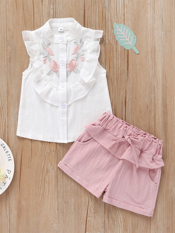 Toddler Girls Floral Embroidered Ruffle Trim Top With Shorts, null